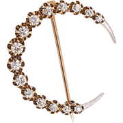 Diamond Set Crescent Brooch - 15-16K, Victorian/Edwardian