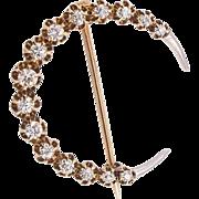 Diamond Set Crescent Brooch - 15-16K, Victorian/Edwardian
