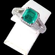 Beautiful 2.45 Carat Emerald and Diamond Ring, 18K White Gold