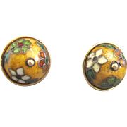 Art Deco 14K Lacquered Cloisonne Earrings