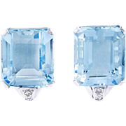 Art Deco Aquamarine and Diamond Earrings set in Platinum