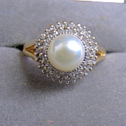 Diamond and Pearl Ring, 14K
