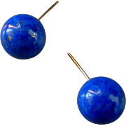 Lapis Orb Earrings, 10.5mm, 14K