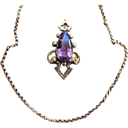 Amethyst Pendeloque Pendant on Belcher Chain, 9 Carat - Early 19th Century Victorian