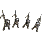 Art Deco Sterling Silver Dachshund Knife Rests
