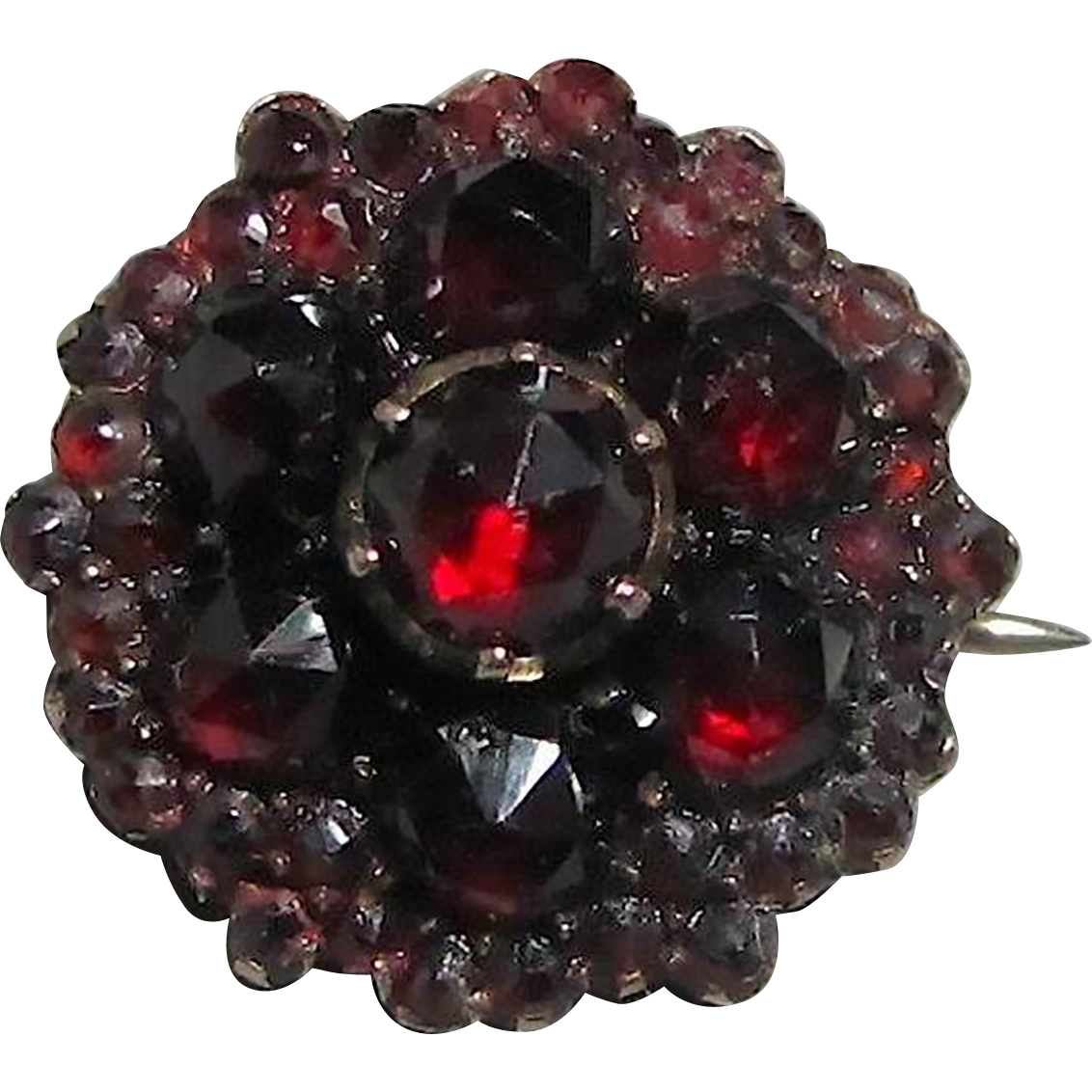 Antique Garnet Collar Pin in 9K Gold and Silver