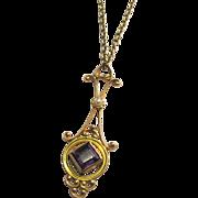 Art Nouveau Amethyst Lavaliere in 9 Carat Gold