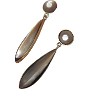 Abalone, 9 Carat Drop Earrings - Vintage
