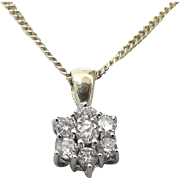 Diamond Cluster Pendant on Chain 14K,  Mid 20th - Germany