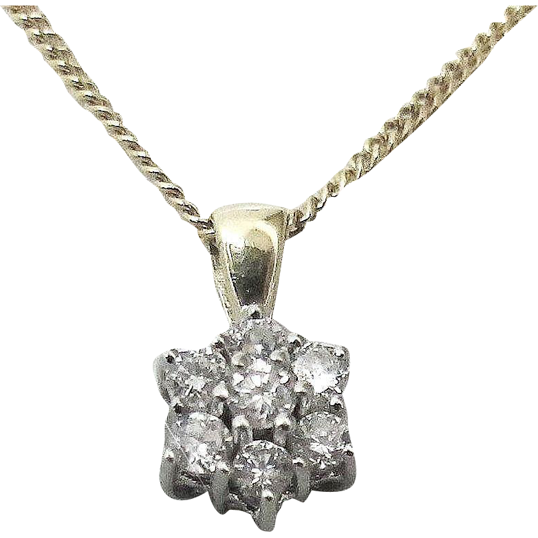 Petite Diamond Cluster Pendant on Chain 14K,  Mid 20th - Germany