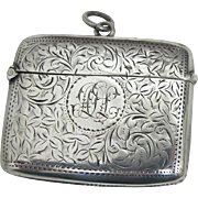 19th Century Sterling Silver English Vesta Case