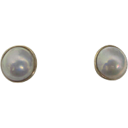 Small Mabe Pearl Earrings - 18K