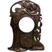 Art Nouveau Bronze Figural Pocket Watch Stand - Signed - Red Tag Sale Item