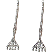 Platinum Art Deco Diamond Earrings - 2.5 Inches