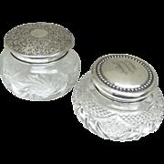 Sterling Lidded Crystal Dresser Jars - Victorian