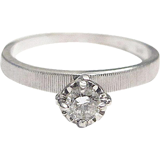 Solitaire Diamond Engagement Ring - 14K White Gold