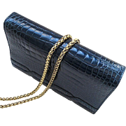 Fine French Alligator Clutch with Cross Body Chain - Teal Blue