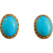 Large Persian Turquoise Earrings - 14K Yellow Gold