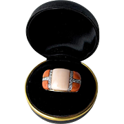 Large and Impressive Coral and Diamond Ring, 18K