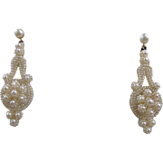 Fine Natural Seed Pearl Pendant Earrings - Circa 1820-1840, 14K
