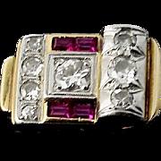 Art Deco Diamond, Ruby 18K Gold Ring, C 1925-1930