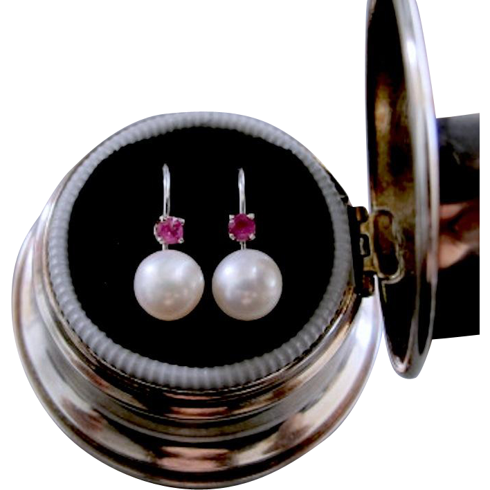 AA Cultured Salt Water Pearl and Ruby Earrings, 14K White Gold