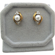 Pearl Stud Earrings with 14K Diamond Jackets - Vintage