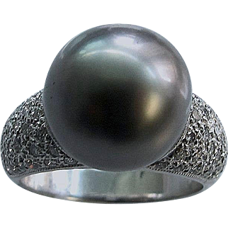 Tahitian Pearl and Diamond Ring, 14K White Gold