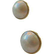 Mabe Pearl Earrings, 14K Yellow Gold