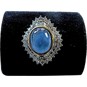 Natural Blue Star Sapphire and Diamond Ballerina Ring - 18K