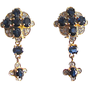 Impressive Blue Sapphire and Diamond Drop Earrings, 14K Yellow Gold