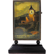 Miniature Scenic Painting with Working Clock - Art Deco