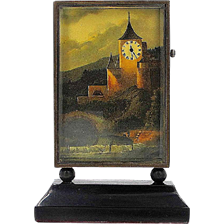 Miniature Scenic Painting with Working Clock Tower - Art Deco
