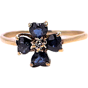 Blue Sapphire Four Leaf Clover Ring - 10K