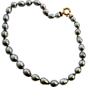 Fine Black Tahitian Pearls with 18K Gold Clasp