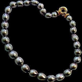 Fine Black Tahitian Pearls, 10mm-14mm - 18K Clasp