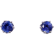 TANZANITE Stud Earrings, 1.75 Carats - Platinum