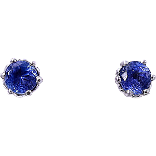 TANZANITE Stud Earrings, 1.75 Carats - Platinum