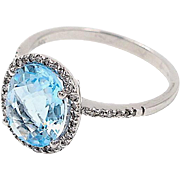Aquamarine and Diamond Ring, 14K White Gold