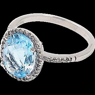 Aquamarine and Diamond Ring, 14K White Gold