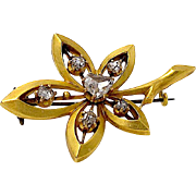 Antique Diamond Pin - 18K Yellow Gold