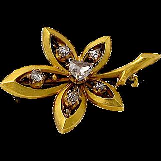 Antique Diamond Pin - 18K Yellow Gold