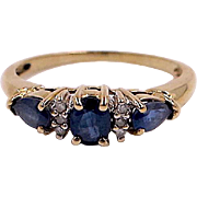Blue Sapphire Trilogy Ring - 10K