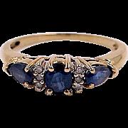 Blue Sapphire Trilogy Ring - 10K