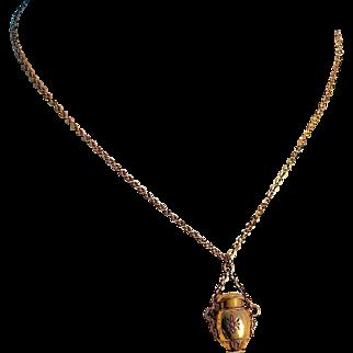 Victorian Amphora Pendant on Chain, 14/15 Karat