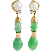 Carved Jadeite, Pearl and Diamond Drop Earrings - 14K Yellow Gold