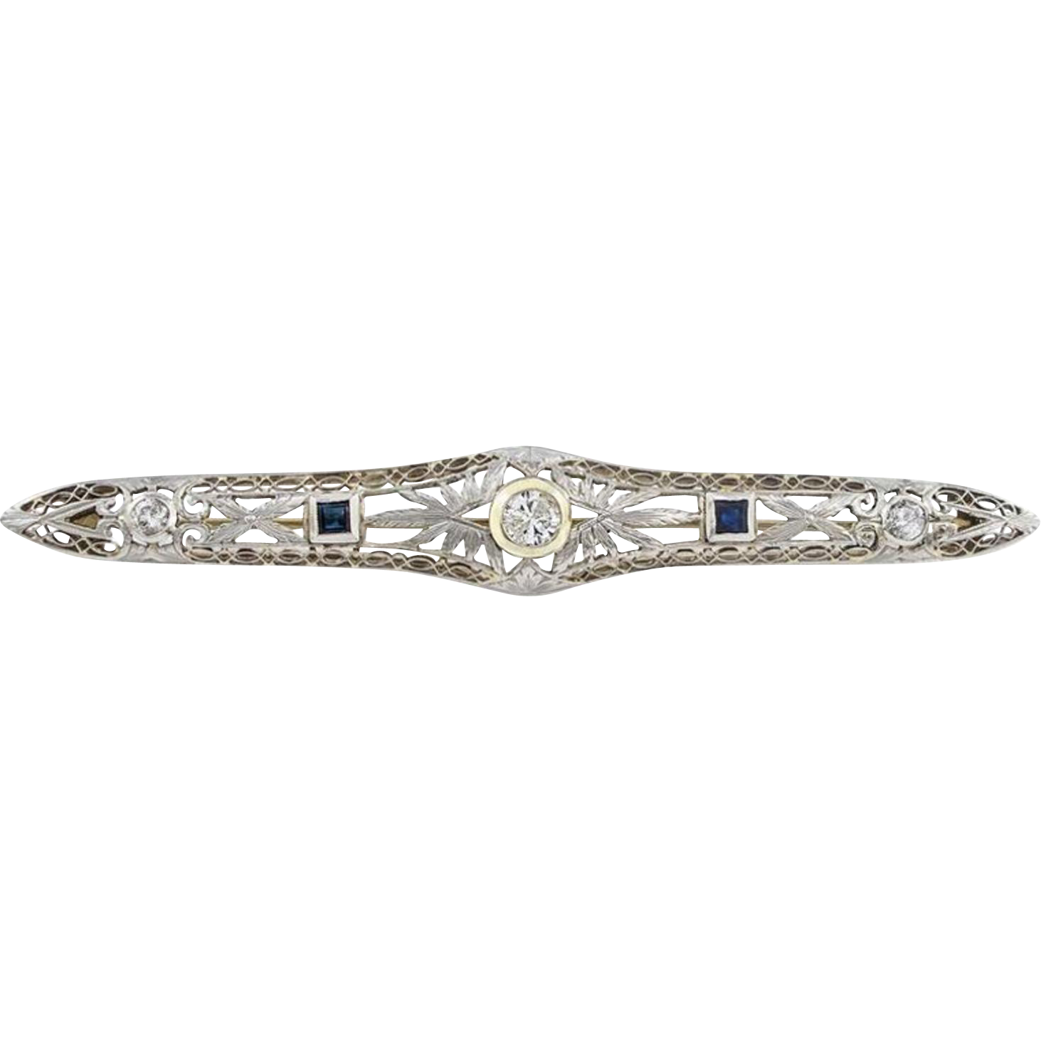 Edwardian Platinum, Diamond and Blue Sapphire Bar Pin