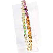Sapphire, Tourmaline and Citrine, Rainbow Bracelet, 14K