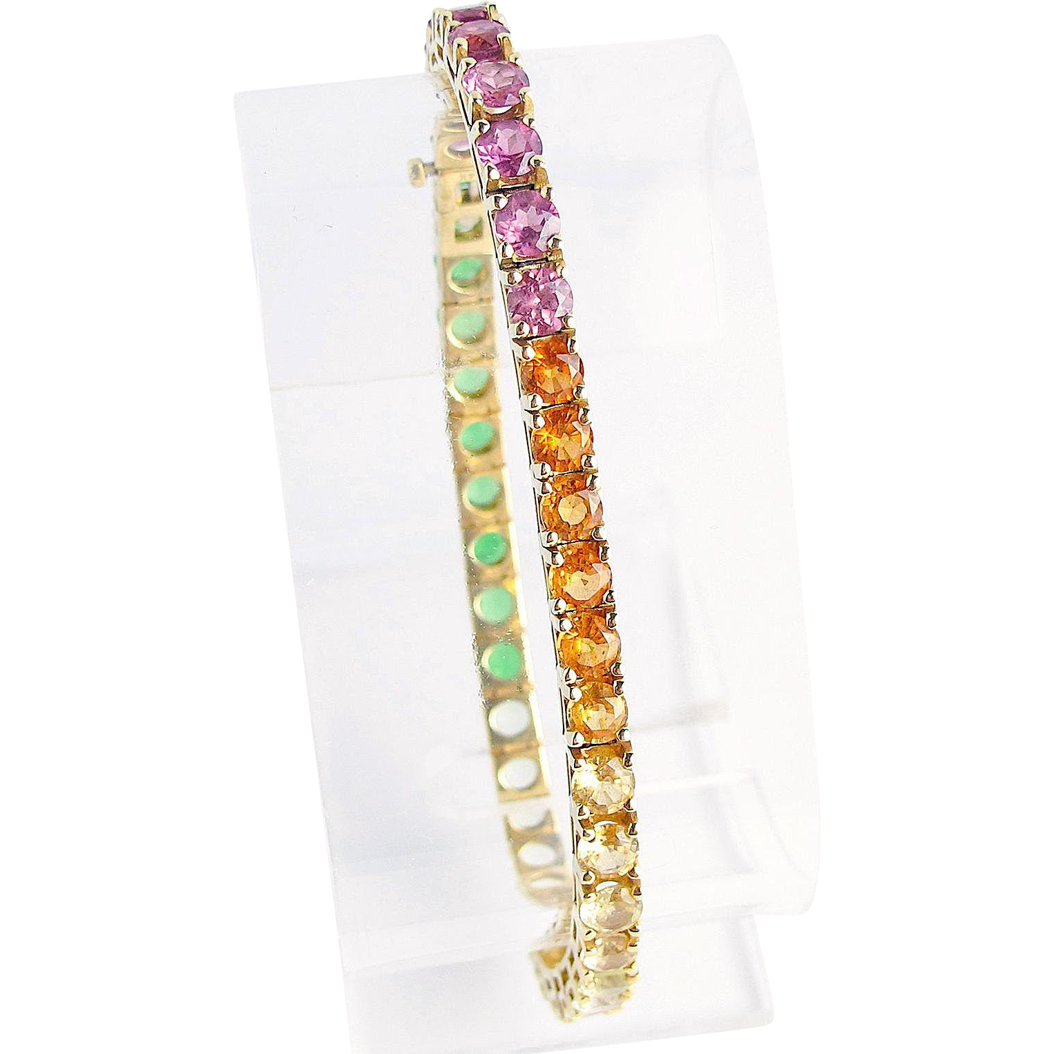 Sapphire, Tourmaline and Citrine, Rainbow Bracelet, 14K