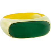 Jadeite Jade Gold Saddle Ring Natural Untreated Type A